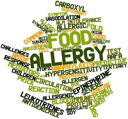 Food allergy word cloud. A food allergy is not the same as a food intolerance. They involve different responses by the body.