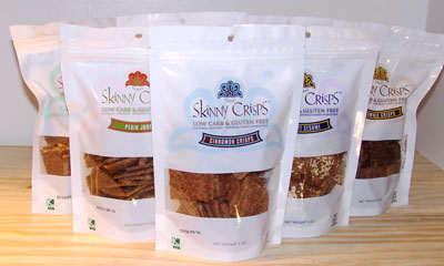 An image of a product called Skinny Crisps, which is a cracker that is ideal for a gluten-free diet