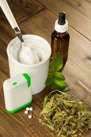 Photo of various forms of the sweetener called stevia. Stevia is gluten free.